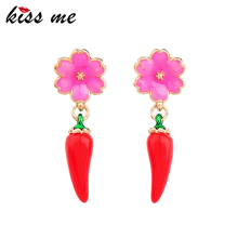 ed00275b Cheap Jewelry Enamel Flower Red Little Pepper Acrylic Earrings