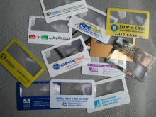 Free sample Promotional 6X Magnifying Glass Business Cards / Plastic Bookmarks PVC Magnifier