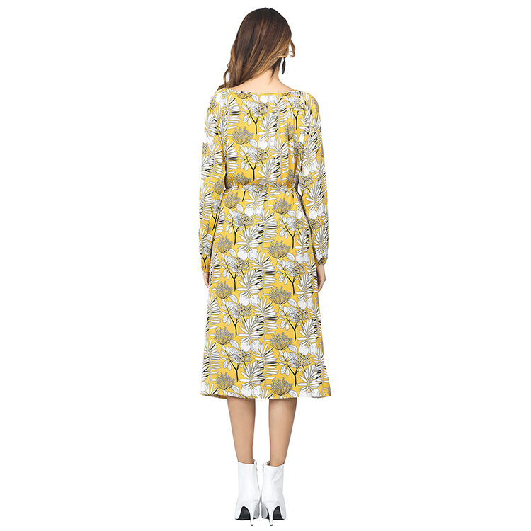 Hot Selling New Arrive Yellow Floral Pattern Bell Sleeve Long Women Dress