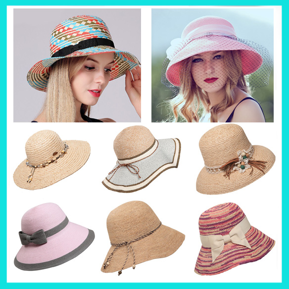 Mauncaturer Customized Made Wide Brim Straw Sun Hats Promotional Summer Beach Woven Paper Straw Hats With Logo