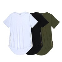 Curved hem longline t-shirt tee with side zips