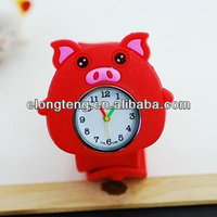 2014 new arrival fashion pig animal silicone slap watch for kids