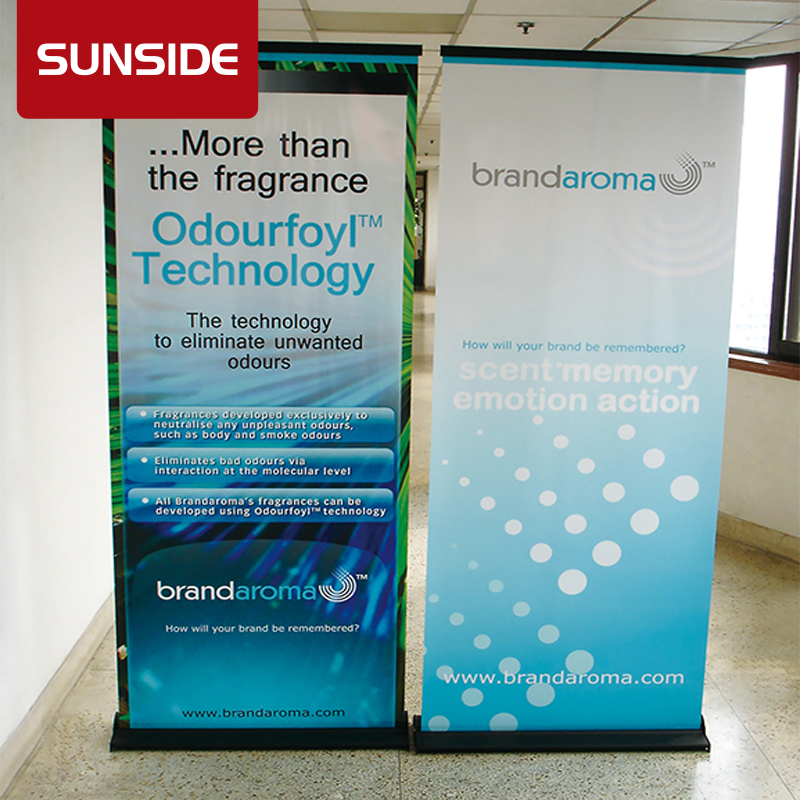 motor roll up banner stand, wide base roll up banner stand