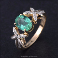 SOLID 14Kt Yellow Gold Natural 1.26ct Colombia Emerald Diamond Ring