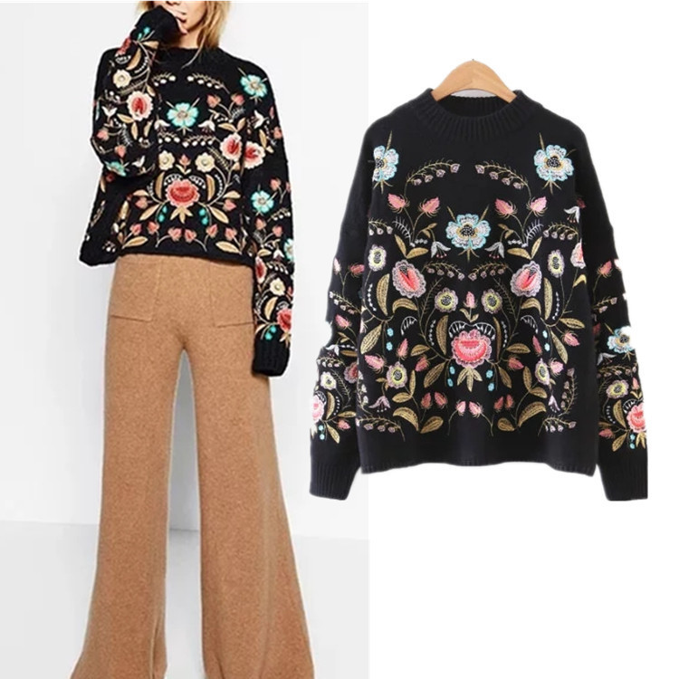 ZH0130D New fashion lady flower embroidery loose long sleeved sweaters