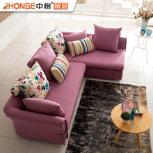 fair price living room furniture L shaped corner purple colour fabric sectional sofa set
