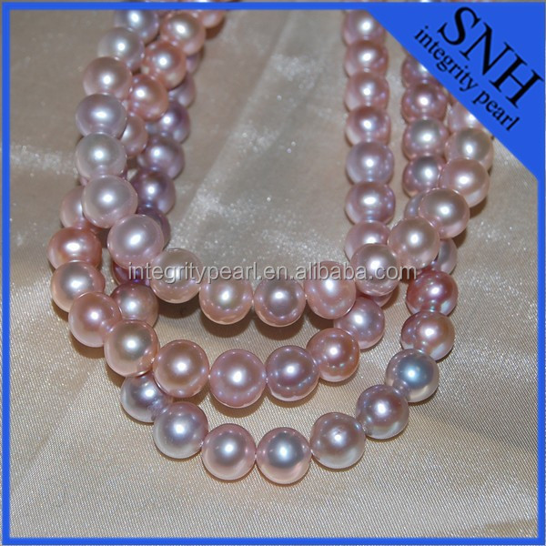 10mm near round purple pearl necklace strand