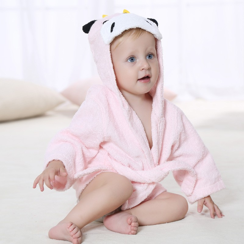 wholesale cotton terry baby bathrobe with animal embroidery design