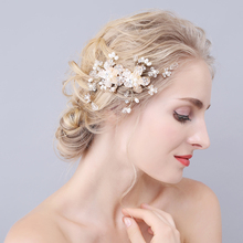 Wedding Hair Accessories for Brides Golden Hair Jewelry with Pearl and Rhinestone