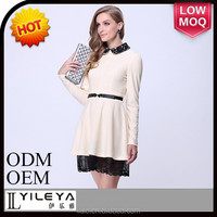 latest lace hem designed elegant stylish long sleeve creamy dress