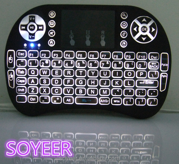 Soyeer Mini qwerty design I8 fly keyboard 2.4g wireless mini Air mouse