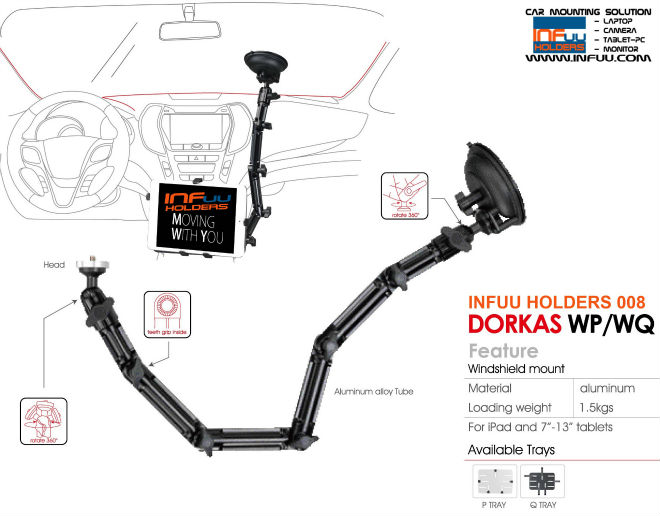 Windshield Car Mount Holder for iPad / Galaxy Tab / Galaxy Note / Nexus 10 / camera / Tablet-PC