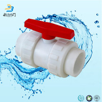 Plastic upvc double union water meter ball valve with lock