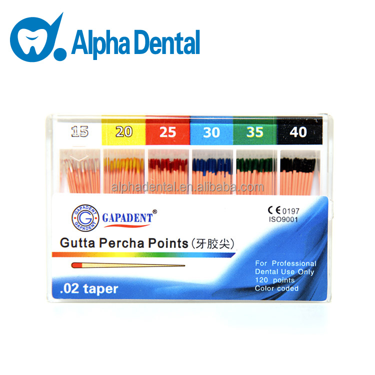 Dental Colorful Gutta Percha Points/Dental GP Points/Dental Gapadent Gutta Percha Points