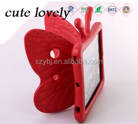 Best gift for kids cute lovely butterfly EVA cartoon tablet case for tablet stander for ipad Air 2/6