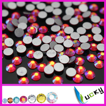 Wholesale new color nail crystals lt siam ab non hotfix flat foiled back rhinestones