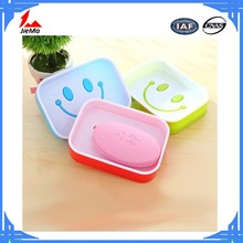 Factory price Korea creative smiley double soap box/carton bathroom big size plastic soap dish