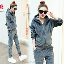 KS30072A 2017 Winter Thicken Women hooded Suits Plus Size Ladies Fashion Velour Tracksuits