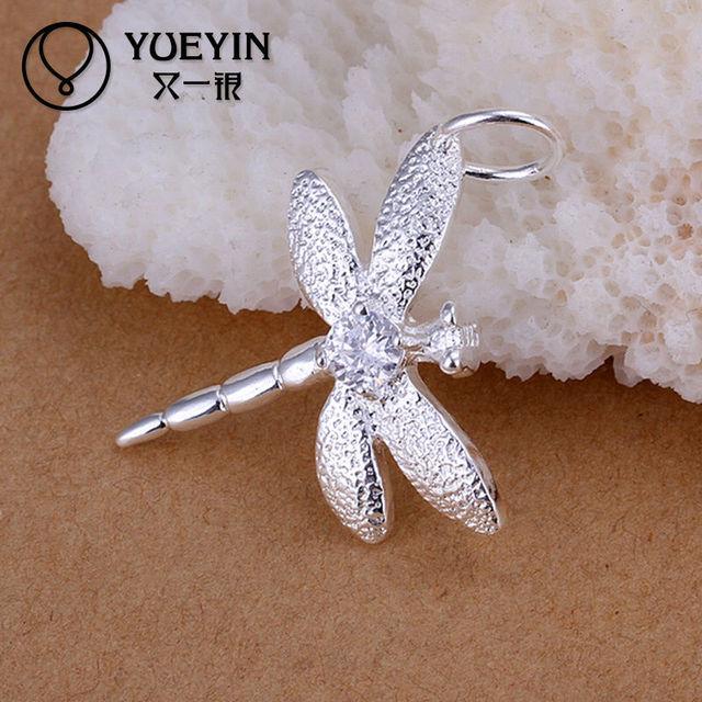 Attractive dragonfly design nickel free cz 925 silver pendant