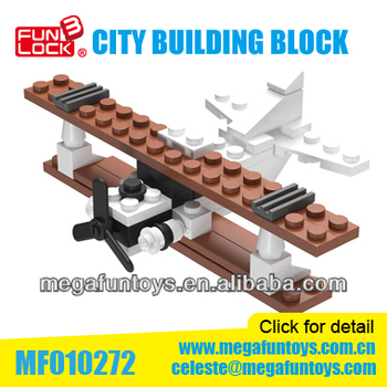 54Pcs Biplane City Series 3D Brains Building Blocks