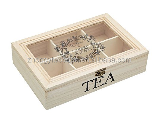 factory sale FSC&BSCI display pine wood Tea storage Box Chest with Clear Hinged Lid, 8 Storage Sections with Expandable Drawer