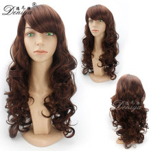aliexpress natural looking long curly bob style synthetic hair wigs with bang, hot selling synthetic wig for yong ladies