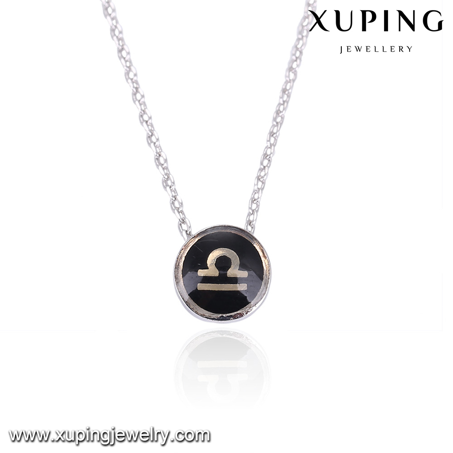 43441 XUPING constellations gold chain Libra black pendant jwelleries necklace,women accessories