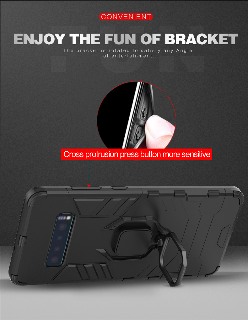 Magnet phone case with ring for Samsung S10,tpu pc phone case for samsung s10