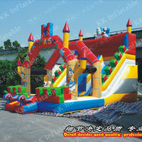 2015 new design mickey inflatable bouncy castle with water slide