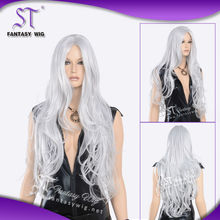 natural wave wholesale extra long grey synthetic wig for party and Halloween