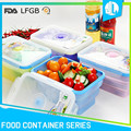 Collapsible preserving design FDA grade square silicone food container