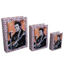 Elvis Design Series Decorative Faux Wooden Book Box With Custom Logo