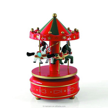 Hot sale Wooden Christmas Wind Up Carousel Music Box/Christmas Decoration Wooden Carousel Music Box