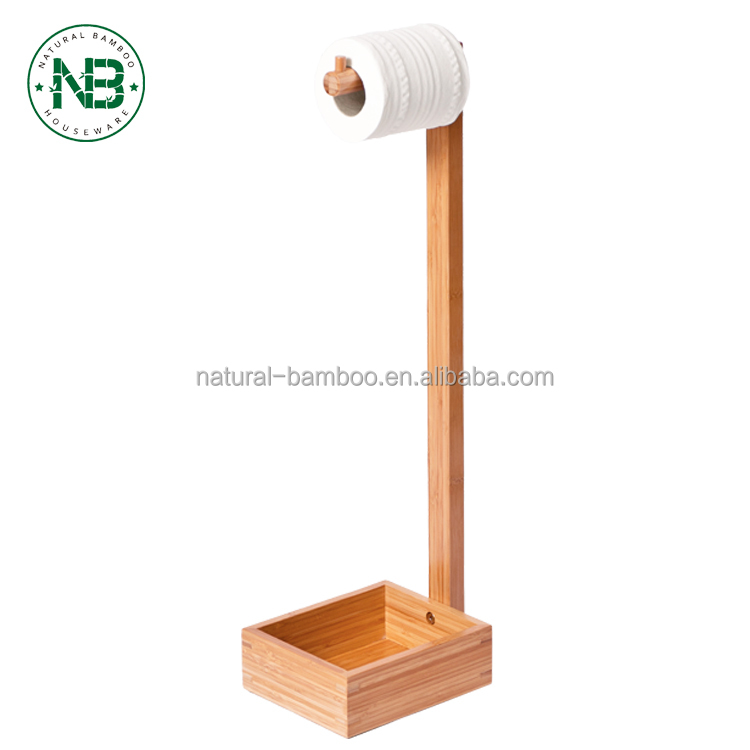 Bamboo FREE STANDING TOILET ROLL HOLDER Toilet Paper Holder And Toilet Brush