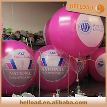 pink color logo printed inflatable large floating balloon helium sphere wholesale