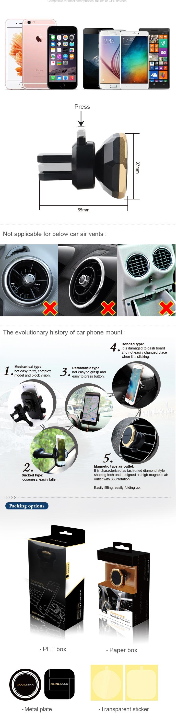 2017 Hot Selling 360 Degree Rotating Magnetic Phone Mobile Car Holder