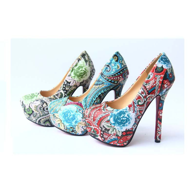 SAA4699 Exotic women pumps shoes fashion floral ladies high heel shoes 14cm