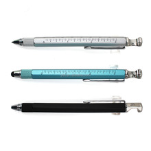 6 In 1 Multifunction Tool metal Pen / Screwdriver / Ruler / Level /Touch Stylus / Ballpoint Pen builder pen