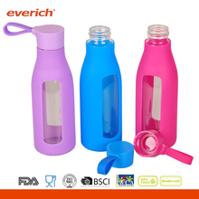Everich customized 600ml glass bottle with handle silicone wrap