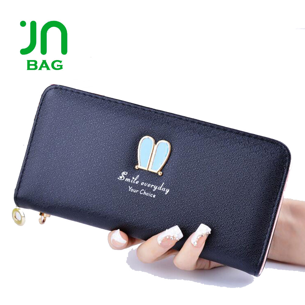 JIANUO high quality zip around leather wallet lady girls clutch purses wallets