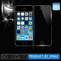 Wholesale ultra smooth 0.26mm 9h scratch proof anti-water HD Clear plating tempered glass screen protector for iPhone 5 5c 5s