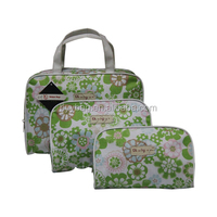 Fashion printed green flower canvas cosmetic bag,new stylish cosmetic bag for woman