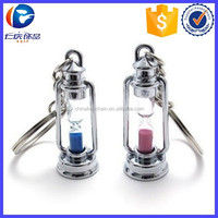 Hot Sale Oil Lamp Sand Timer Hourglass Key Ring Couple Lovers