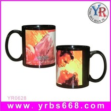 red heart shaped ceramic mugs heart handle sublimation color changing mugs for photo printing