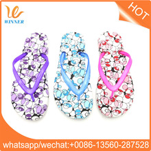 2017 promotion fancy flower printed girls nude beach high quality TPR flip flop w407
