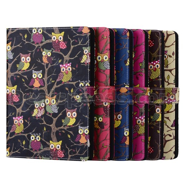 Owls Card Slot Leather Stand Case for iPad 2/3/4