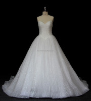 Luxurious v neckline wedding dresses Crystal beaded wedding gown Princes Tulle bridal dresses A-line bridal gowns