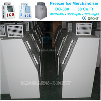 Freezer ice merchandiser for ice manufacturer & distributor to store ice in Supermarket and store