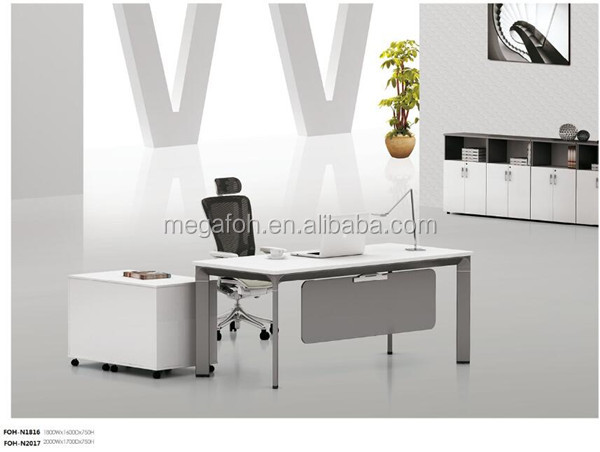 Modern design white executive office desk with metal leg and side pedestal(FOH-N1816)