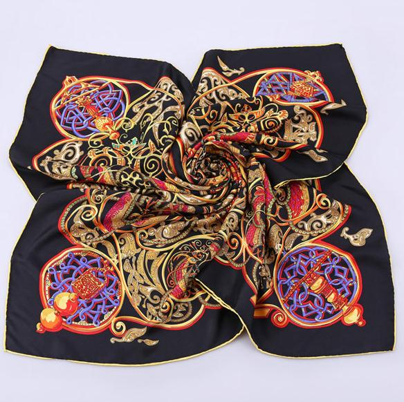 2016 Newest custom twill print silk scarf 90x90 cm manufacturing
